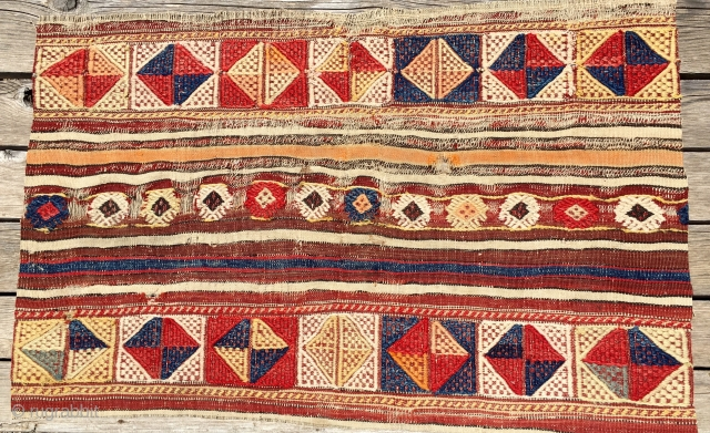 Bergama cicim fragment. Cm 60x94 ca. Probably 3rd q 19th c. Sweet, decorative piece from Western Anatolia. Natural dyes. One of two.