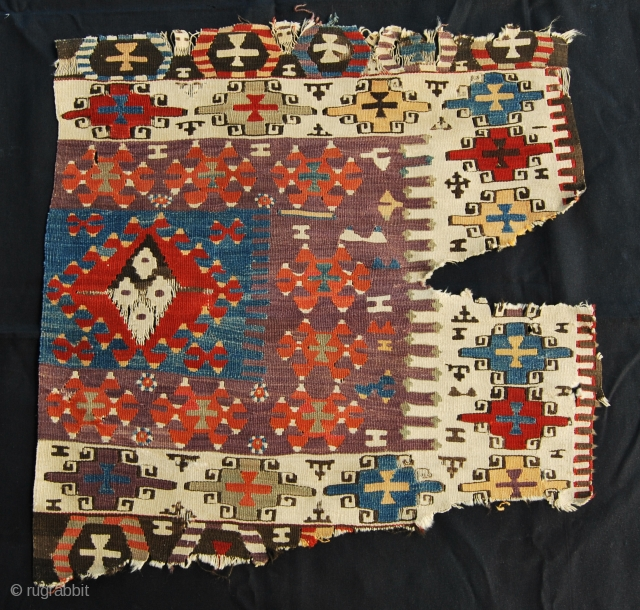 Western Anatolia kilim fragment. Aydin area. Size is cm 77x77. Second half 19th century. Great colors. See more pics on fb: https://www.facebook.com/media/set/?set=a.10152675583659258.1073741953.358259864257&type=1
