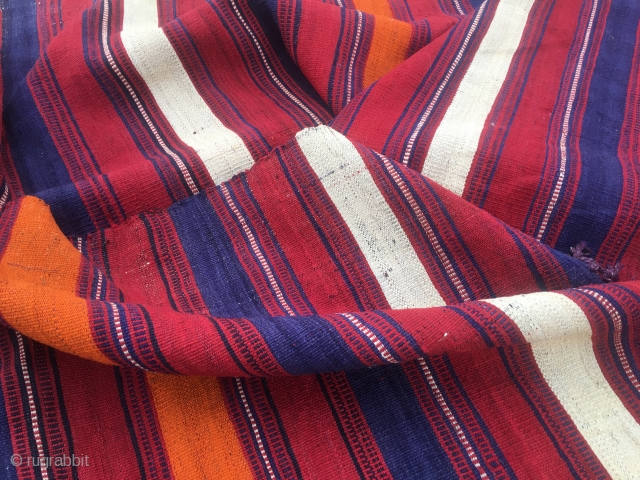 Colorful kilim striped runner/strip. Cm 67x256. 90 to 100 years of age. Most probably Anatolian. Very fine weave. Great colors. Red, orange, blue and white. Warps are dyed in aubergine!! Very unusual.  ...