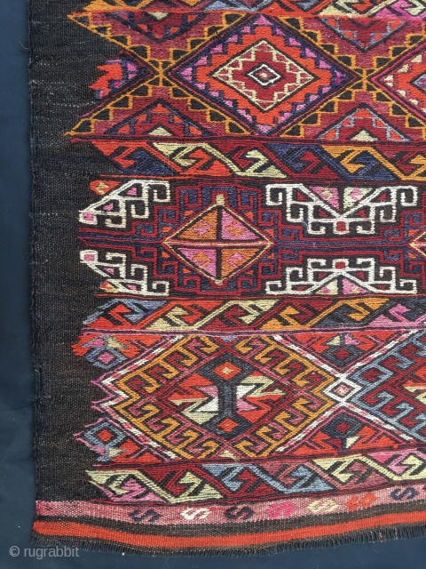 Eastern Anatolia, most probably Mut, sumack big storage bag face. Cm 96x114. Early 20th century. Incredibly rich in colors and in pattern. Goat hair warps. In good condition. Affordable.