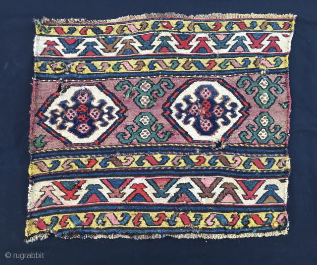 Wild & primitive weaving Shahsavan sumack end panel. Cm 46x55. End 19th century, at the time of discovery of first aniline, for them amazing colors. A very strong yellow dominates the scene.  ...