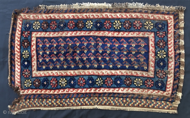 Bakhtiari Char Mahal pile long panel. Cm 57x99. 100/120 years old. Probably ex mafrash or tacheh. Primitive, tribal, awesome. Interesting pattern, wonderful saturated natural dyes. See indigo blue, green, yellow, brick red,  ...