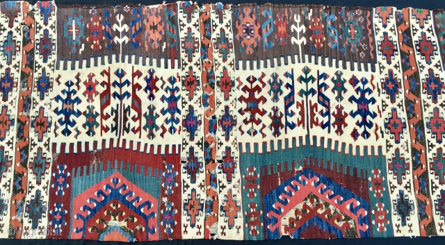 Colors! This kilim strip is a marvel of colors and graphics. East Anatolia, probably Reyhanli tribal group kilim strip. Cm 77x289. Mid 19th century. Wool on wool plus some hard to find  ...