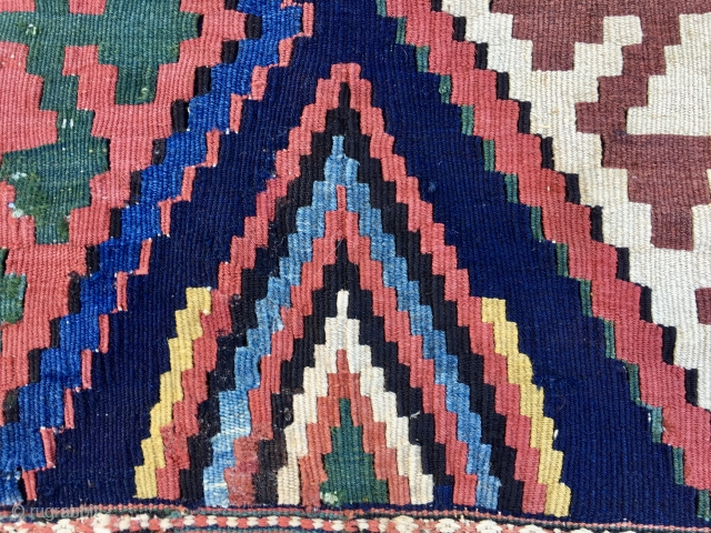 Caucasian, Kazak? kilim mafrash long panel. Cm 56x99. End 19th century ca. Great panel in great condition with lovely pattern and wonderful natural saturated colors. Dark magenta, yellow, green, various blues, etc.  ...