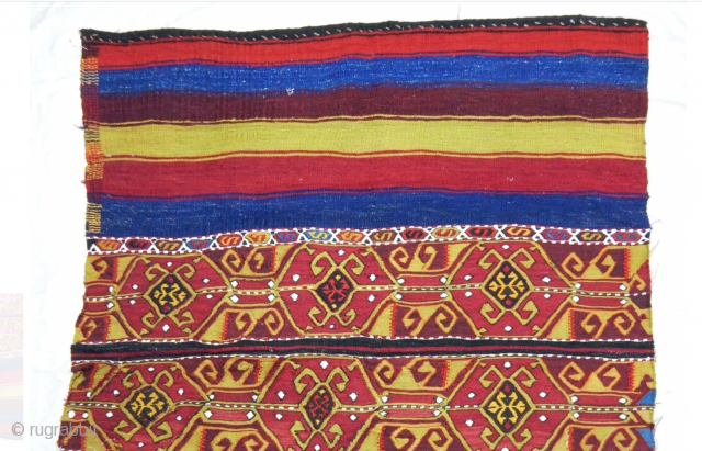 Just out a Turkish collection. Eastern Anatolia wonder. Thank you dear Nomads, you are great artists! Colorful, beautiful, joyous, unusual. Great pattern. Great colors. Fantastic graphics. Great condition despite the small naif  ...