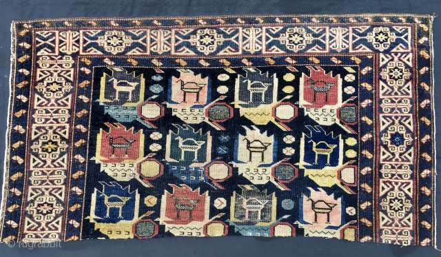 Shirwan Kuba rug fragment. Cm 63x120. Datable to 3/4th q of 19th c. This is one of the ends of what was a gorgeous Caucasian rug before the disaster. So, we have  ...