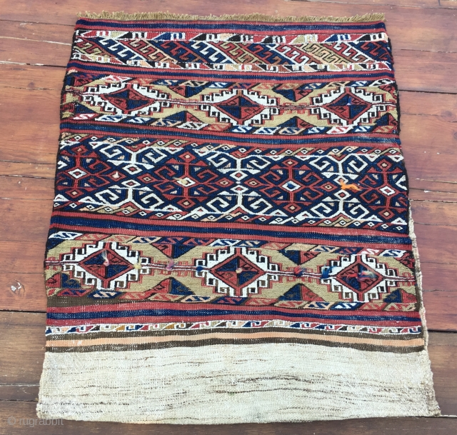 Bergama, Kilaz? Western Anatolia complete cuval with back. Cm 80x97, open is cm 80x195. Natural dyes, lots of dileks/wishes, good condition.