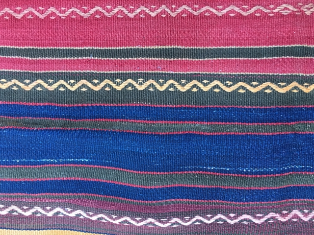 Colorful striped kilim. Cm 155x205. Eastern Anatolia. Very nice kilim with embroidery. Good condition apart from a few small holes.