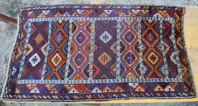 Southern Anatolia Antep rug. Cm 120x205. Early 20th century. 90% is full pile. Some oxidation and wear in the center. Only the strong orange seems to be chemical. A good deal for  ...