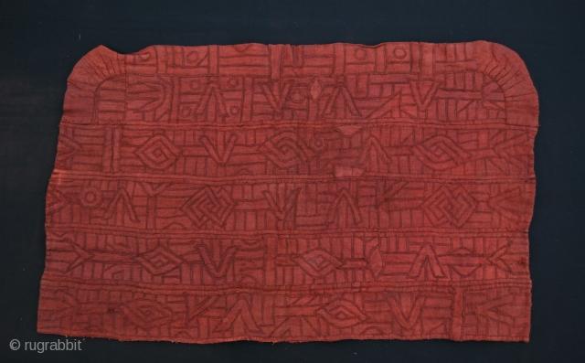 Bakuba Bushong raffia red panel from a n'tschak. Congo. Cm 52x84. First half 20th century. More dtls on rq.