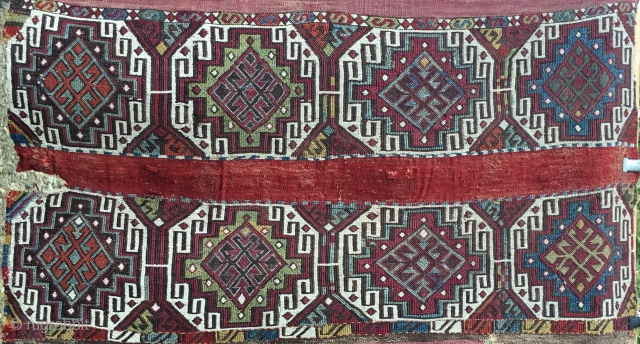 Anatolian original open cuval/storage bag. Cm 120x200 ca. 100/120 y old. Great pattern, great colors, in rather good condition.