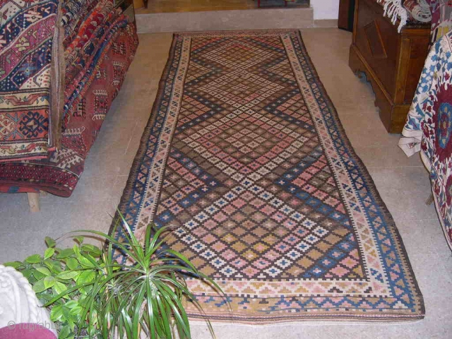 AFGHAN LABIJAR AREA KILIM - CM 126X403 OR FT 4.1X13.2 - FANTASTIC KILIM RUNNER WITH GREAT NATURAL DYES - 3/4TH QUARTER 19TH CENTURY - NORTHWEST AFGHANISTAN, MAIMANA VALLEY - IN VERY GOOD  ...