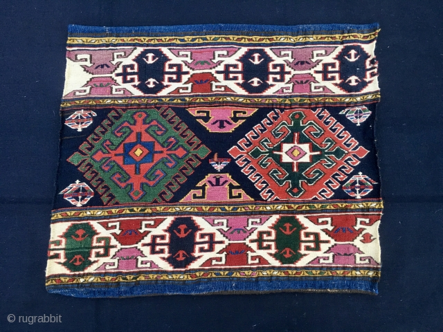 Top Shahsavan sumack mafrash end panel. Cm 46x54. End 19th century. Colors, drawing, spacing, beauty, everything at the top. Just have a good look and you will understand why I've decided to  ...