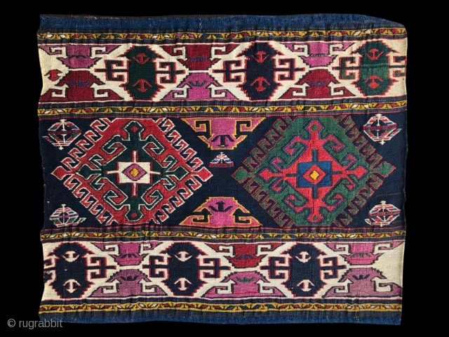 Top Sumack Shahsavan mafrash end panel. Cm 46x54. 1880sh. Deeply saturated natural colors in a very bold combination. Finest possible weave. In mint condition. A real jewel. Not to miss.