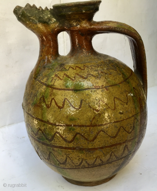 Southern Balkans. The triangle of Northern Greece, Western Turkey and Southern Bulgaria. This old jar or ewer is a great piece of Balkan art. Reminds me of Canakkale and also Kinik pieces.  ...