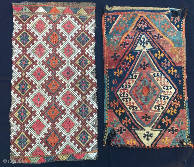 2 Yastik faces. Central Anatolia, probably Sivas. Cm 50x94 & 49x83. Vintage left, antique right. Good cond left, a bit wrecked right. Both beautiful. Get them mounted. € 290 plus shipping for  ...
