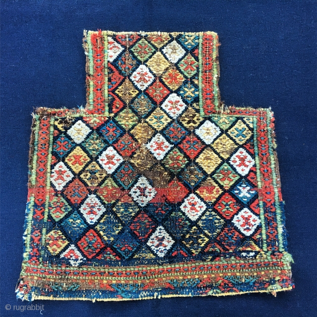 Lovely Shahsavan Sumack namakdan/salt bag face. Cm 36x26x38. End 19th c. Wonderful colors, wonderful pattern. The back side looks like a painting by Jackson Pollock. Might need one more wash. A beautiful  ...