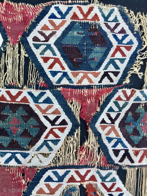 Get one or both fragment strips. Almost certainly Nigde area, Cappadocia, Central Anatolia. Cm 60x175 each. Datable 1860/18800. Great pattern, great colors, rare, collector's item.