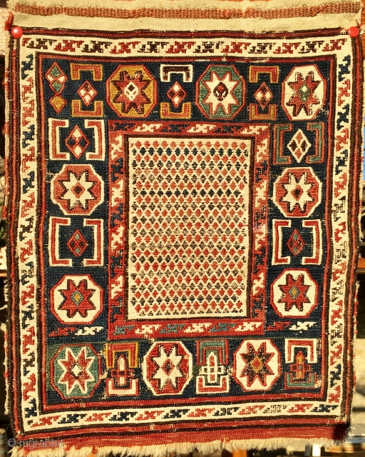 Baku area, probably Shirwan sumack khorjin bag face. Cm 34x42 - In 13x17.  Late 19th c. All natural dyes, in good condition. Unusual star pattern. Beautiful collector's little jewel. Some pics  ...