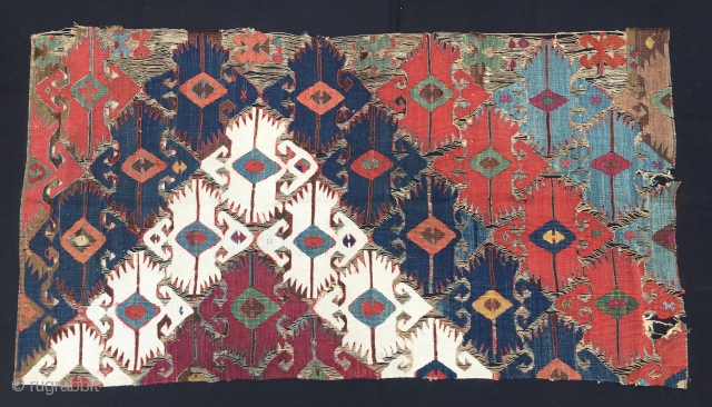 South East Anatolian kilim fragment. Cm 70x130 ca. Mid 19th c., 1840/1860. Wonderful saturated colors. White is cotton, + brick red, yellow, green, 3 different blues, madder magenta.....