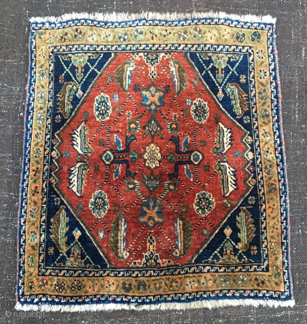 Qashqai full pile khorjin bag face. Cm 60x64 ca.. Early 20th c if not earlier. Beautiful, proportioned, interesting and... not expensive. Natural dyes. In good condition. The numbering on the back might  ...