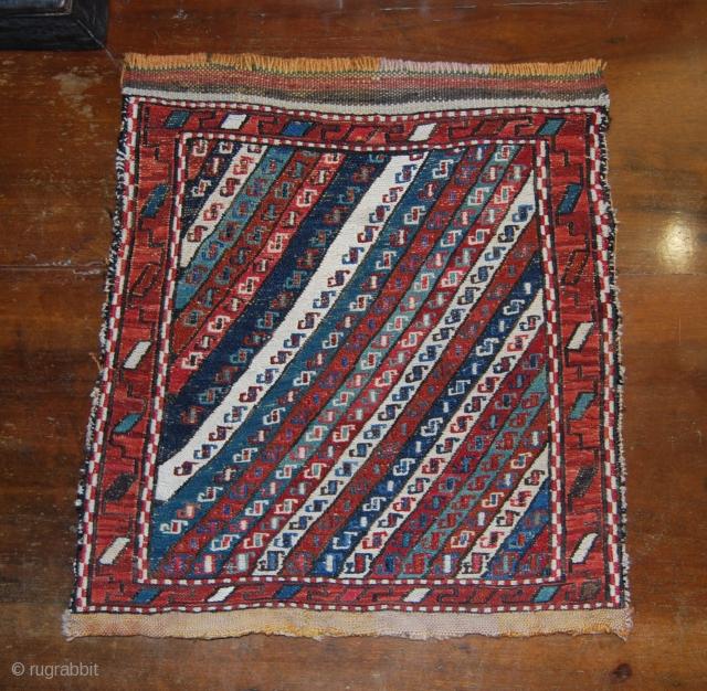 Shahsavan (or Kurdish?) Sumack Khorjin bag face with diagonal striped pattern. Cm 35X38. End 19th century. Wool & silk. Lovely piece of tribal art.   See more pics here: https://www.facebook.com/media/set/?set=a.10152842275134258.1073741980.358259864257&type=1