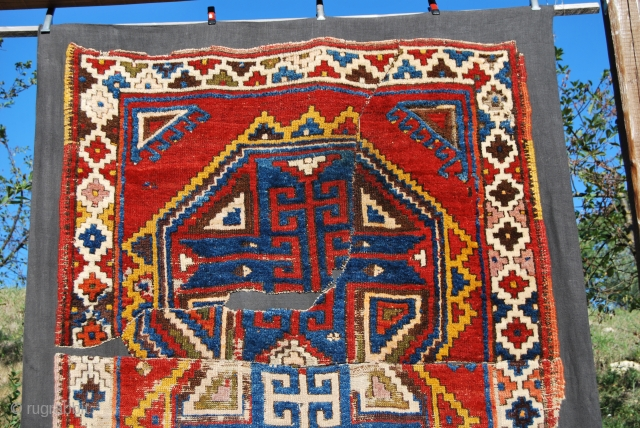 Konya Karapinar/Karacadag village rug fragment. 2nd/3rd q 19th c. Gorgeous colors, bold geometrical design. Thought to have it restored but then decided to conserve it and so had it mounted professionally by  ...