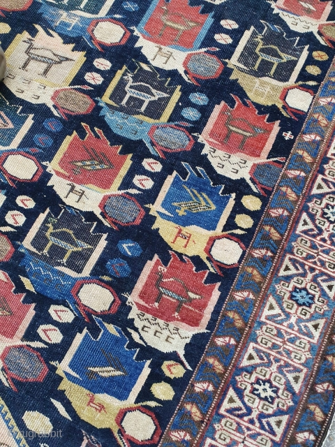 Kufic border Caucasian runner. Cm 120x493 or 16ft 2in x 3ft 11in. Second half 19th century. Somebody called it Daghestan. I would go for Shirwan, but I'd rather study it a bit.  ...