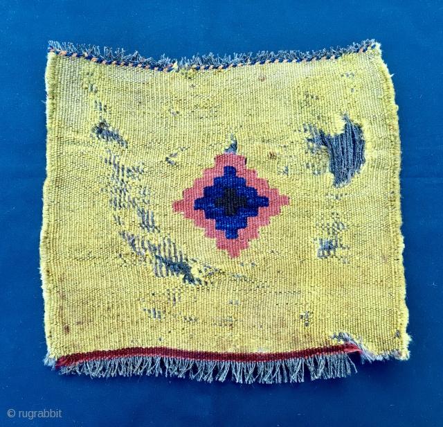 The Yellow. Back of a Qashqai khorjin bag. Very modern, simple, low profile. Pure Tribal Art. Cm 29x34