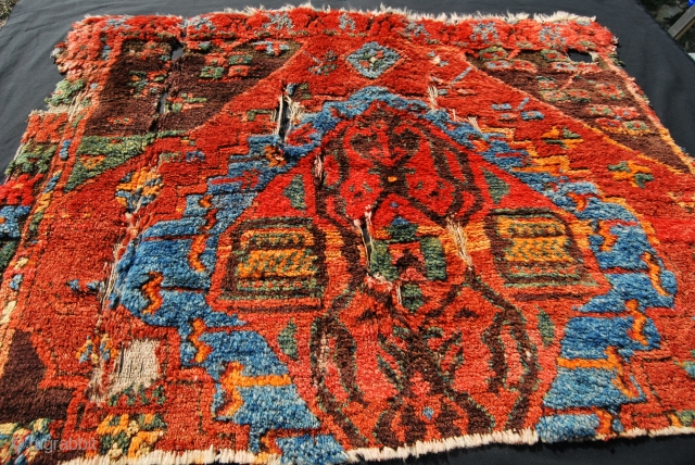 Ayranci village, Karaman area, Central Anatolia, cm 125x100 ca., or 49x39 in, early 19th century, very high pile, great dyes......