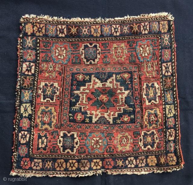 Shahsavan Sumack khorjin bag face. Cm 53x53/58. Databile from 1850 on. Great pattern, great natural dyes, in good condition. No restorations, no reweavings. Find similar pieces on all books: Tanavoli, Wertime, Frauenknecht,  ...