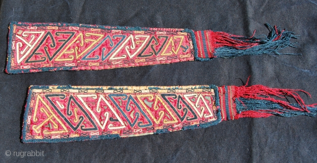 Turkman Tekke silk embroidered chirpy sleeve ends. Cm 40x9. Datable to the 3rd or 4th q 19th century. Great graphic. Some damage. Really beautiful. Paypal welcome. More pics on my fb page:  ...