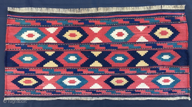 Caucasian flatweave mafrash long panel. Cm 46x94. Late 19th, early 20th c. Great, deep colors, see the different blues. Some old restorations. Lovely decorative item.