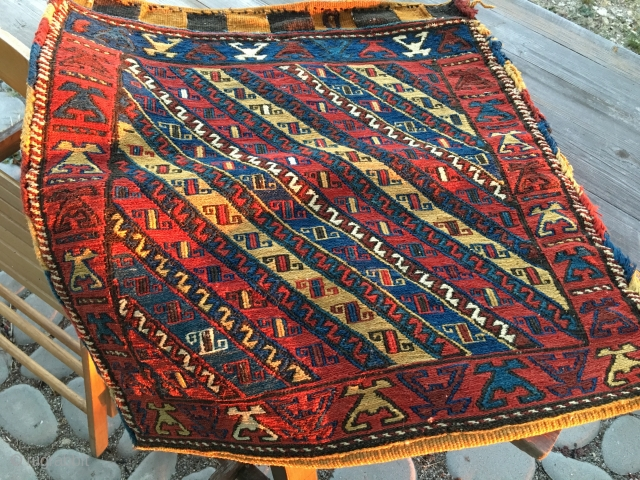 Shahsavan Sumack bag. Cm 60x60 ca. End 19h c, early 20h c. Great bag complete with kilim striped back. Rare, beautiful, collectable.