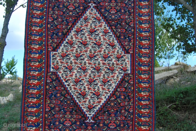 Antique Bidjar/Bijar great kilim. Cm 105x150. late 19th/early 20th century. Mint conditions. Great, deep colors. See more pics on Facebook: http://www.facebook.com/media/set/?set=a.10151277348899258.521308.358259... More items? http://rugrabbit.com/profile/580
