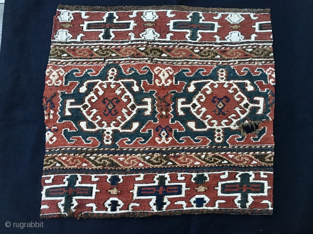 This is a great Shahsavan Moghan sumack mafrash panel fragment. Cm 43x46. Datable 1860/1880. Wool and cotton, extra weft wrapping. Crab shaped stars archaic pattern. Rare. See similar panel on Tanavoli main  ...