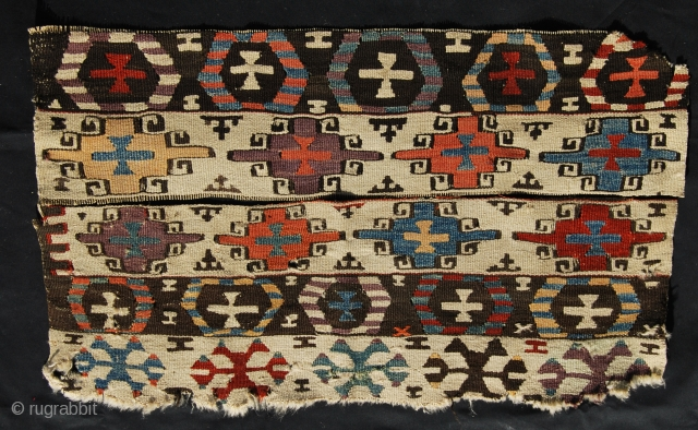 Western Anatolia Kilim fragments. Aydin area. Second half 19th century.Cm 44x72 together. Lovely pattern. Great dyes.An iconic fragment! See more pics here: https://www.facebook.com/media/set/?set=a.10153004693194258.1073741995.358259864257&type=1&pnref=story