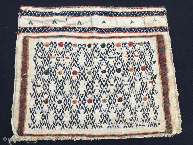 Qashqai khorjin bag face. Cm 37x45. Early 20th c. A little, sweet thing, small money.