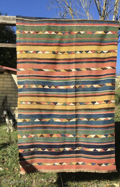 Caucasian Kazak kilim. Antique, very very thin, with great natural saturated colors. In good condition. Condition issues: some old restoration and a couple of stains. A supper flat weave.