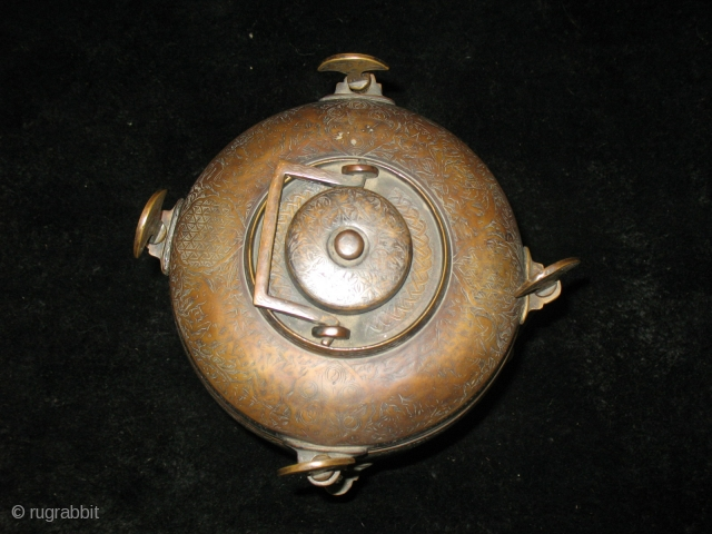 Ottoman 19th century or earlier brass safertas or food container. Cm 17x23h. Heavily decorated. Rare & beautiful. Few similar examples found in a couple of museums in the Islamic art section. See  ...