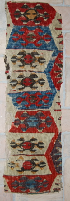 Kilim fragment. Western Anatolia. Cm 90x28. Late 19th century. Great colors: two madder reds, indigo, aubergine, yellow, oxidized black. See more pics on fb: https://www.facebook.com/media/set/?set=a.10153015465919258.1073741996.358259864257&type=1&pnref=story