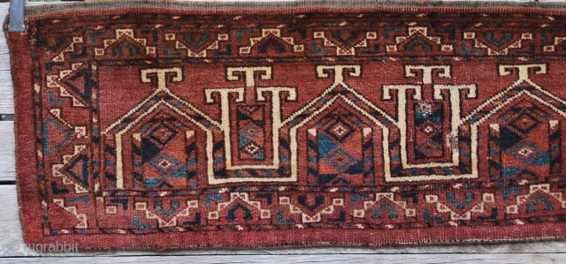 Turkmen torba, probably Ersari tribal group. Cm 39x133. Great Graphic! It's the so called saph design, even if I love to think they are yurts…. Full pile. Good cond…..despite three small holes.  ...