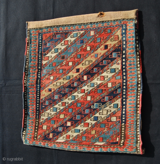 Shahsavan Sumakh khorjin bag with original back. 19th century. Size is cm 52x57 or in 20.4x22.4. Great dyes. Simply beautiful! Good condition.