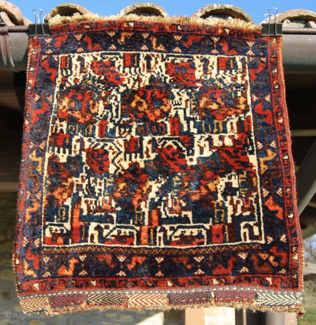 "Wonderful, colorful, antique, tribal piece of art Qashqai bag. Cm 65x70 ca. In very good condition. Try to spot all the animals hidden in this lovely, abstract ""painting"". — If you have  ..."