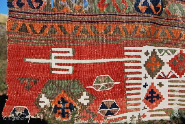 Konya Kilim Fragment. Cm 65x140. Second half 19th century. Wool & cotton. Lots of lovely colors. Pls see more pics on my fb page: https://www.facebook.com/media/set/?set=a.10153061594504258.1073741999.358259864257&type=1