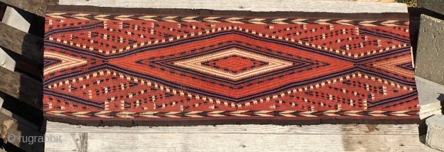 Turkmen Yomud tent band fragment. Cm 36x102. See more pics on my fb page: https://www.facebook.com/media/set/?set=a.10153961557509258.1073742086.358259864257&type=3&uploaded=9