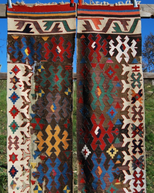 Anatolian kilim fragment. Cm 90x220 ca. 2nd half 19th c. Great colors, great pattern, lovely easthetical output. Could be Central Anatolia, Karapinar? Konya, or? Any idea?