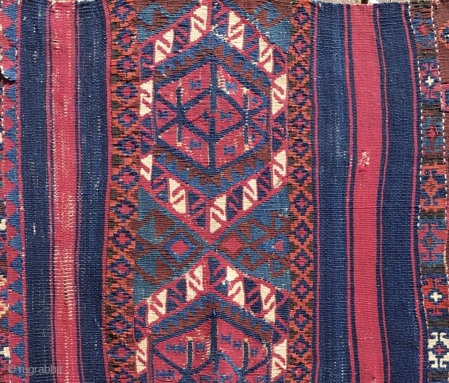 Colors, simply colors. South east Anatolian kilim fragment. Cm 56x76. Datable according to the colors 1870/1880. Beautiful, deep, natural saturated colors. The weave is very very fine. A good fragment, but colors  ...