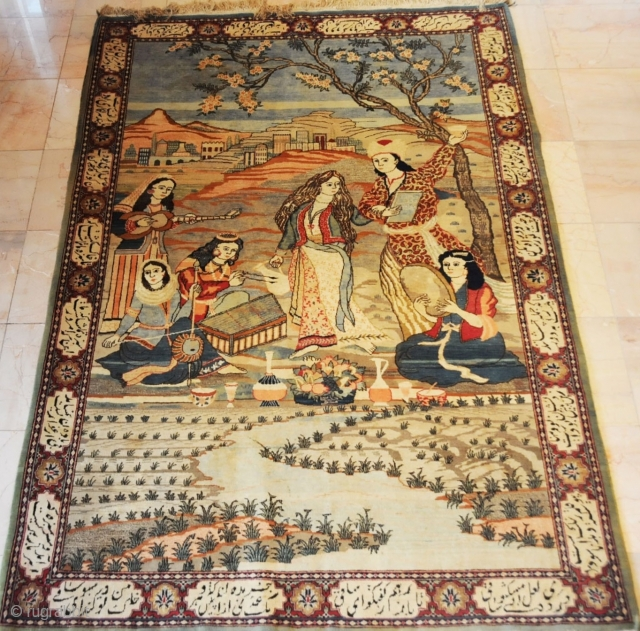 """Persian Tabriz Pictorial Rug 19th Century.  Hakim Omar Khayyam, Neishapur,this rug is in vary good condition. Has a persian poetry on the borders. Come from Private home.  size is 4.4x6.7 (52""""x79"""")"""