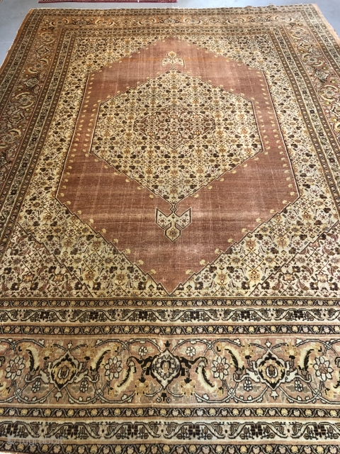 Antique PersianTabriz Hajji Jalili size is 9.6x12.8 in good condition no repair no holes no dry rot all in good shape.very soft wool